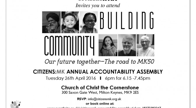 Invitation to 'Building Community' Assembly 26.4.16